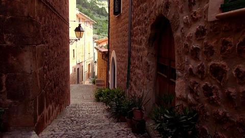 Narrow empty lane in romantic small spanish village Live Action