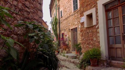 Narrow lane in romantic small spanish village Live Action