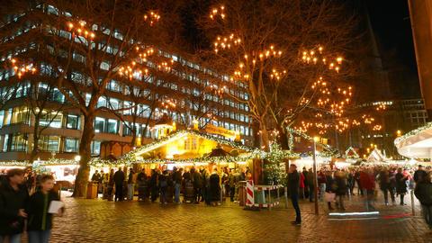 Christkindles Market Christmas market in Hamburg - time lapse shot Live Action