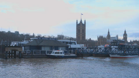 River Thames London with Houses of Parliament Westminster Live Action