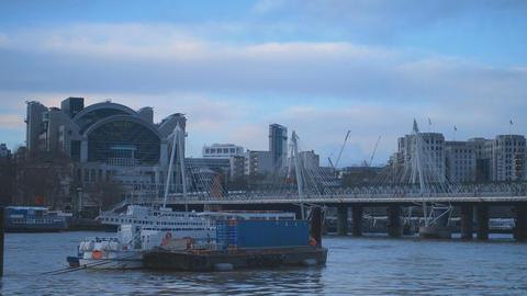 Embankment London and Golden Jubilee Bridge Live Action