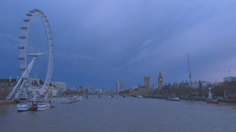 London skyline with London Eye in the evening Live Action