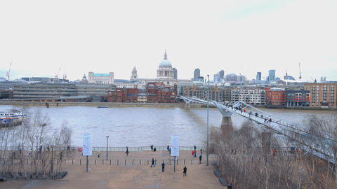 The River Thames and St. Paul's London Live Action