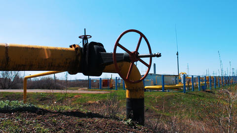 Gas and oil industry. Pipeline with a large shut-off valve. Station for Footage