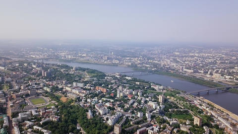 View of Nizhny Novgorod, the Volga River and the Oka River. Nizhny Novogorod Footage