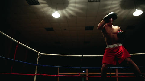 Professional pumped-up fighter in a boxing ring in red sherds and boxing gloves Footage