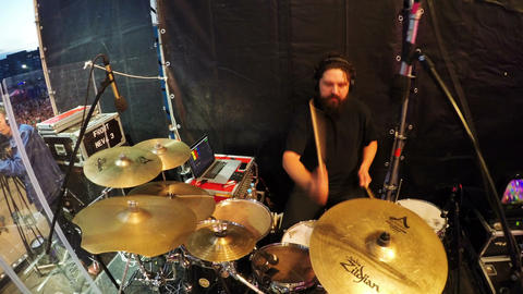 Band Member Playing Drums on Annual Festival Closeup Footage