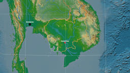 Zoom-in on Cambodia outlined. Physical Animation