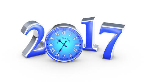 New Year 2018. Christmas. Blue figures and clock,... Stock Video Footage