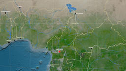 Zoom-in on Cameroon outlined. Satellite Animation