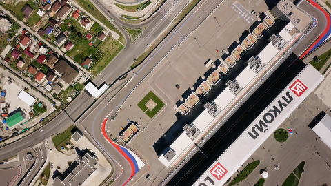 General view of Sochi Park in the Adler from a bird's-eye view. Sochi Autodrome. Footage