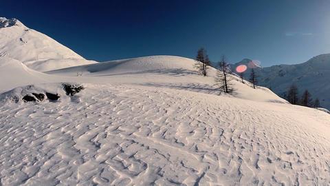 Aerial view of snow mountains snow winter landscape Footage