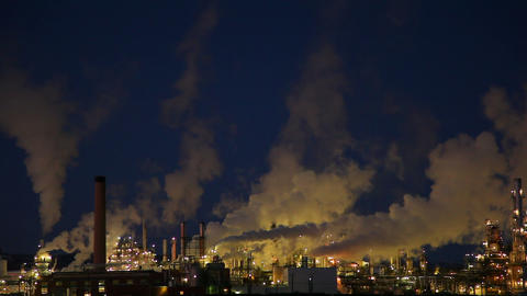 Closeup of isolated power plant at night Footage