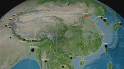 Zoom-in on China extruded. Satellite Animation