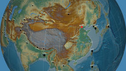 Zoom-in on China outlined. Relief Animation