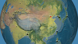 Zoom-in on China outlined. Topographic Animation
