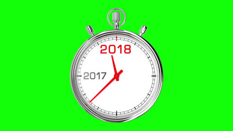 New Year 2018 Stopwatch (Green Screen) Animation