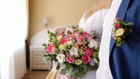 groom meets the bride and gives her wedding bouquet 2 Footage