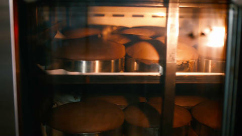 sponge cakes for a cake baked in the oven Footage