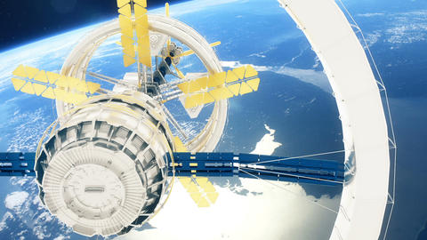 Space station flies around the Earth. Beautiful detailed animation Animation