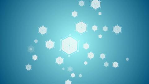 Blue abstract hexagon molecules tech video animation Animation