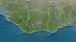 Zoom-in on Cote Divoire outlined. Satellite Animation