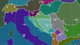 Zoom-in on Croatia outlined. Administrative Animation