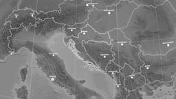 Zoom-in on Croatia outlined. Grayscale Animation