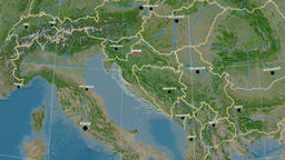 Zoom-in on Croatia outlined. Satellite Animation