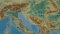Zoom-in on Croatia outlined. Relief CG動画素材