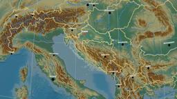 Zoom-in on Croatia outlined. Relief Animación