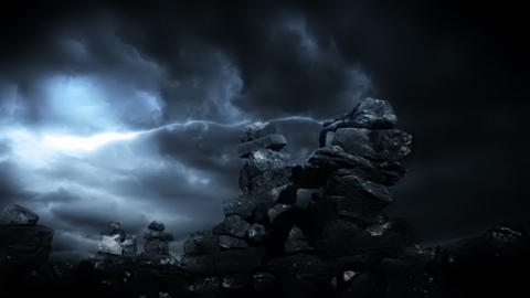 Fantasy Scenery And Lightning Storm Animation
