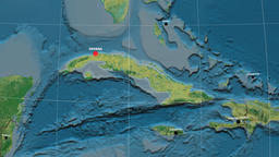Zoom-in on Cuba outlined. Topographic Animation