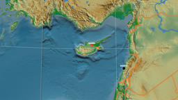 Zoom-in on Cyprus outlined. Physical Animation