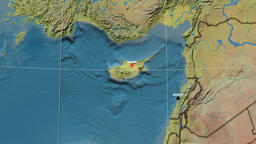 Zoom-in on Cyprus outlined. Topographic Animation