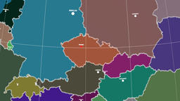 Zoom-in on Czech Republic outlined. Administrative Animation