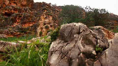 Mountain rocks and foliage Stock Video Footage
