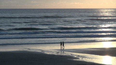Two people walking along shore at cannon beach Footage