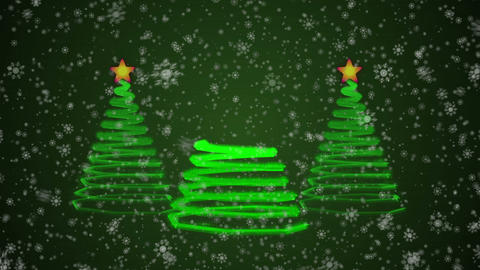 New Year Trees and Snowflakes CG動画素材