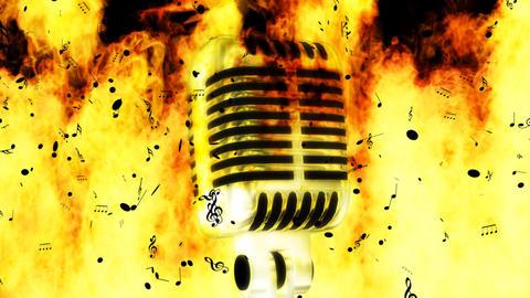 Burning music notes Footage