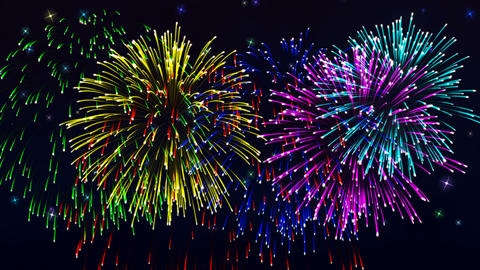 Beautiful cg fireworks in celebration day, loop Animation