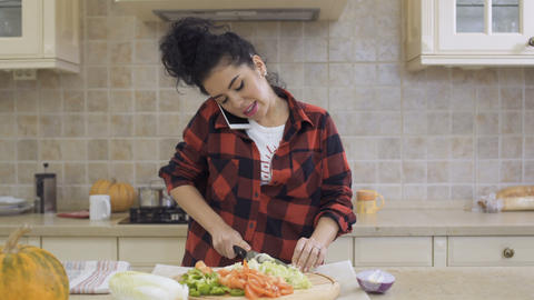 Young brunette cooks dinner at kitchen and talks on phone Footage