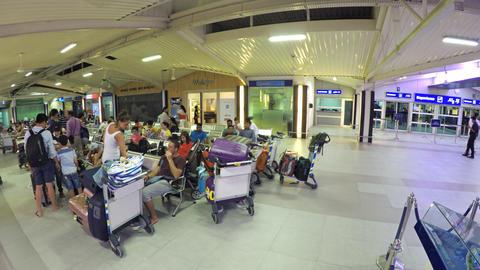 Seating inside Main Terminal at Velana International Airport in Maldives Footage