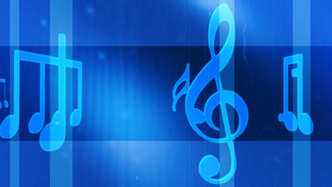 Music notes and symbols carousel blue Footage