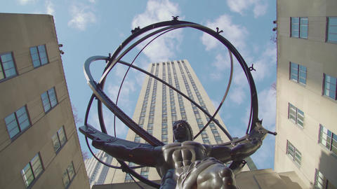 New York City Rockfeller Center - Atlas Statue Footage