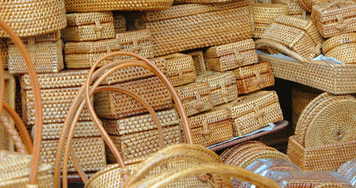 Hand Woven Baskets at Balinese Market. 4k footage Footage