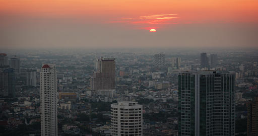 Sunset in Timelapse through Bangkok Urban Haze Footage