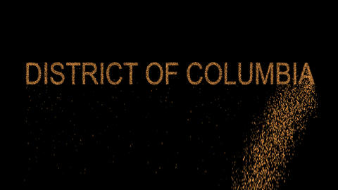 State Name DISTRICT OF COLUMBIA appears from the sand, then crumbles. Alpha Animation