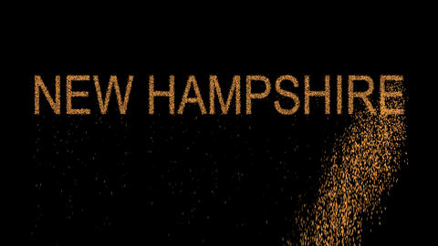 State Name NEW HAMPSHIRE appears from the sand, then crumbles. Alpha channel Animation