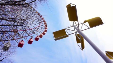 OSAKA, JAPAN - March 2015: Landmark Tempozan Giant Ferris wheel in Tempozan Footage